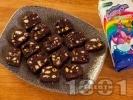 Рецепта Лесен сладък салам с обикновени бисквити Закуска, маргарин и мед